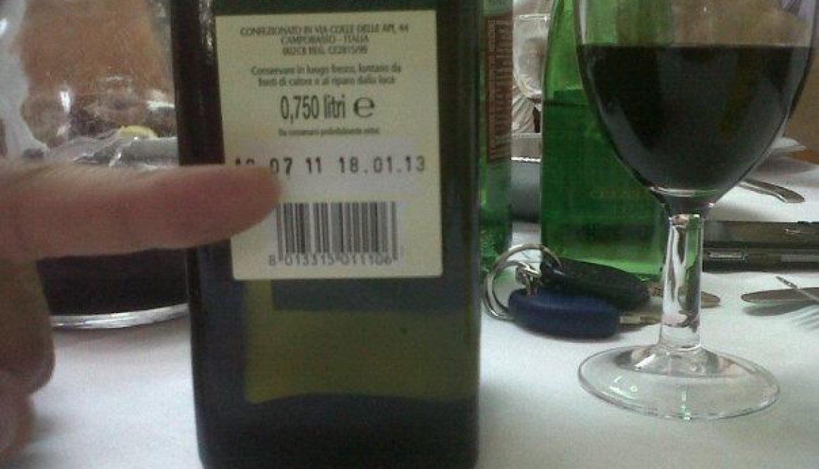 etichetta olio con data produzione luglio