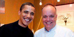 Barak Obama e Tony Mantuano, chef del ristorante Spiaggia a Chicago